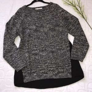 LOFT Marled Black & White Hi-Lo Sweater Size XL